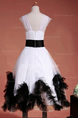 Cuty White UK Flower Girl Dresses Square Black Sash Tiered Ruffle Cute Floor Length Zipper Organza Pageant Dress_9
