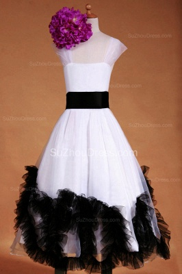 Cuty White UK Flower Girl Dresses Square Black Sash Tiered Ruffle Cute Floor Length Zipper Organza Pageant Dress_4