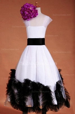 Cuty White UK Flower Girl Dresses Square Black Sash Tiered Ruffle Cute Floor Length Zipper Organza Pageant Dress_1