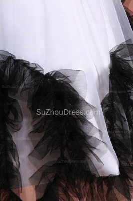 Cuty White UK Flower Girl Dresses Square Black Sash Tiered Ruffle Cute Floor Length Zipper Organza Pageant Dress_5