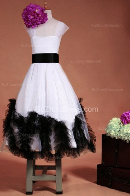 Cuty White UK Flower Girl Dresses Square Black Sash Tiered Ruffle Cute Floor Length Zipper Organza Pageant Dress_2