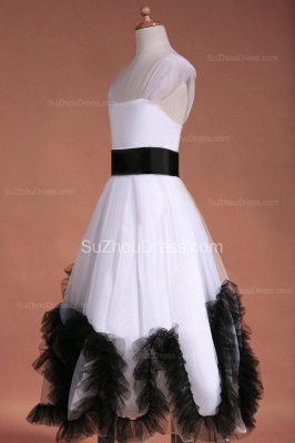 Cuty White UK Flower Girl Dresses Square Black Sash Tiered Ruffle Cute Floor Length Zipper Organza Pageant Dress_7