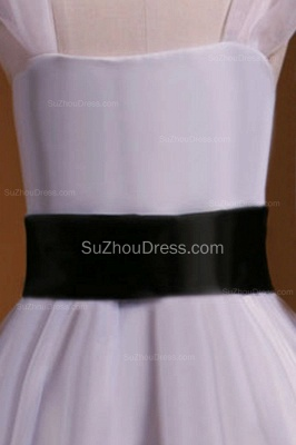 Cuty White UK Flower Girl Dresses Square Black Sash Tiered Ruffle Cute Floor Length Zipper Organza Pageant Dress_3