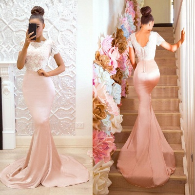 Cute Short-Sleeve Maid of Honor Dress | Lace Sexy Trumpt Bridesmaid Dress On Sale_5