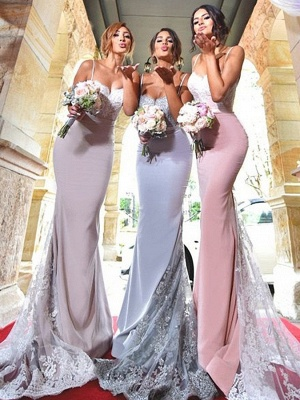 Spring Sexy Trumpt Bridesmaid Dresses UK | Spaghetti Straps Lace Appliques Long Maid of Honor Dresses_1