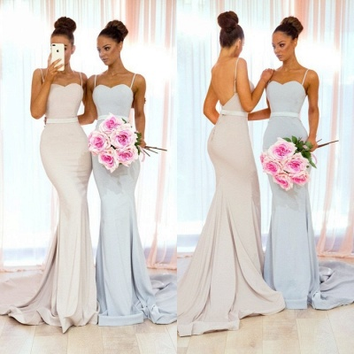 Elegant Spaghetti Straps Bridesmaid Dress | Sexy Trumpt Long Party Gowns_4