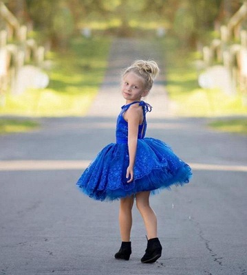 New Arrival Royal Blue Lace Appliques UK Flower Girl Dress | Halter Puffy Mini Girls Pageant Dress_3