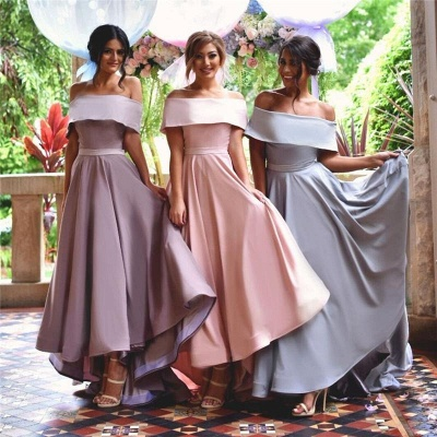 Elegant Off-the-shoulder Summer Sweep Train Summer Bridesmaid Dress_4