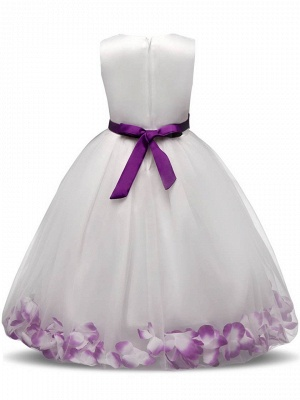 Cute Tulle Scoop Appliques Sashes Ankle-Length UK Flower Girl Dress_3
