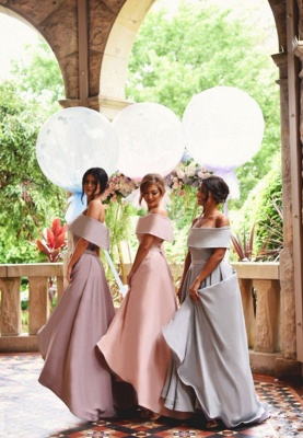 Elegant Off-the-shoulder Summer Sweep Train Summer Bridesmaid Dress_3