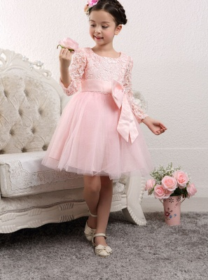 Cute Tulle Lace UK Flower Girl Dress | Bowknot Long Sleeve Zipper Girls Pageant Dress_3