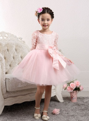 Cute Tulle Lace UK Flower Girl Dress | Bowknot Long Sleeve Zipper Girls Pageant Dress_4