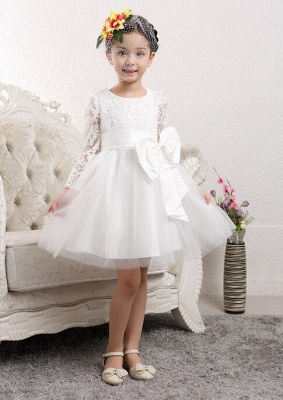 Cute Tulle Lace UK Flower Girl Dress | Bowknot Long Sleeve Zipper Girls Pageant Dress_1