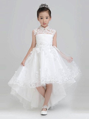 Modest Hi-Lo Tulle High Neck Sleeveless UK Flower Girl Dress with Appliques_1