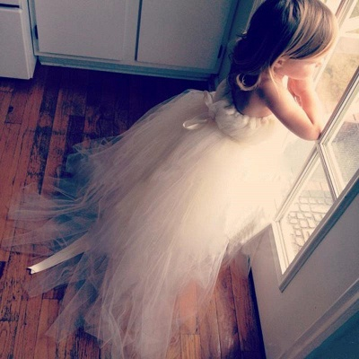 Cute Tulle Princess UK Flower Girl Dress Lace-up Sweep Train_1