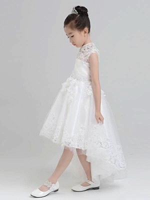 Modest Hi-Lo Tulle High Neck Sleeveless UK Flower Girl Dress with Appliques_3