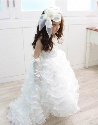 Organza Lace Layered Bowknot Long UK Flower Girl Dress with Pearls_1