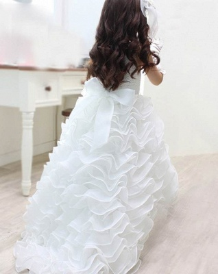 Organza Lace Layered Bowknot Long UK Flower Girl Dress with Pearls_3