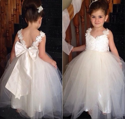 Cute Tulle Lace Applique UK Flower Girl Dresses Backless Long Bowknot Children Gowns BO8533_1