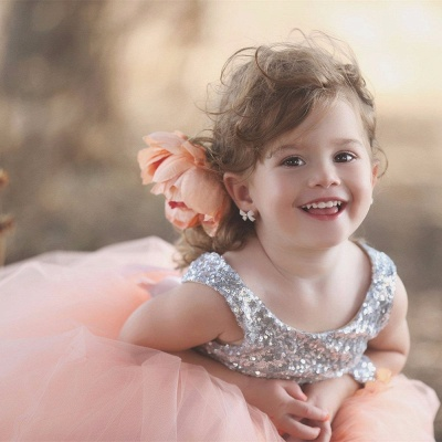 Cute Tulle Sequined Flower Girl Dress|Jewel Sleeveless Girls Pageant Dress_4