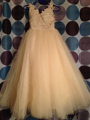 Cute Tulle Lace Applique UK Flower Girl Dresses Backless Long Bowknot Children Gowns BO8533_4