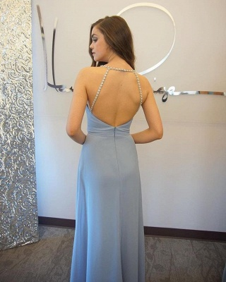 Baby Blue Chiffon Evening Dress Crystals Straps Floor Length Open Back Cheap Bridesmaid Dress_3