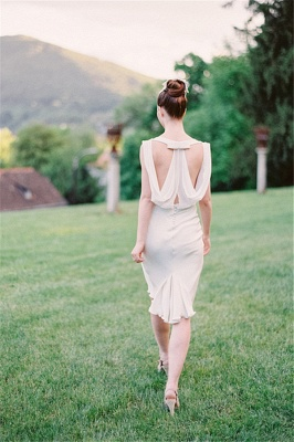 Vintage Wedding Short Bridesmaid Dresses UK Chiffon Hollow Back Wedding Reception Dress_1