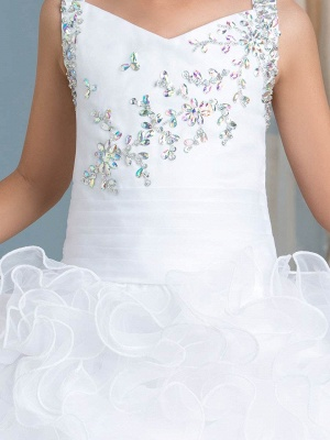 Organza Ruffles Puffy UK Flower Girl Dress with Beadings_4
