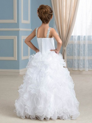 Organza Ruffles Puffy UK Flower Girl Dress with Beadings_3