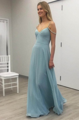 Baby Blue Chiffon Evening Dress Crystals Straps Floor Length Open Back Cheap Bridesmaid Dress_1