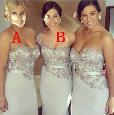 Applique Elegant Sash Bridesmaid Dresses UK Charming Satin Glorious Wedding Gowns_2