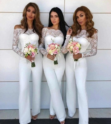 Off Shoulder Lace Jumpsuit Bridesmaid Dresses UK | Winter Column Wedding Party Pants_3