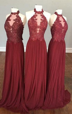 Delicate Lace Appliques Halter Sleeveless Chiffon Burgundy Bridesmaid Dress_1