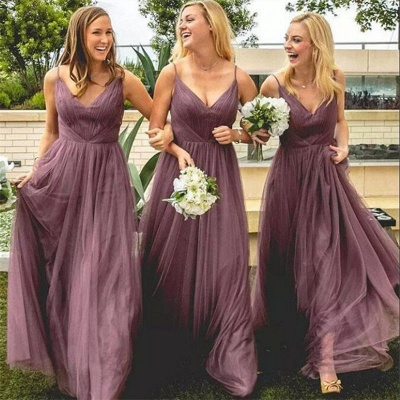 Cheap Spring Spaghetti Straps Bridesmaid Dresses UK | 30D Chiffon Long Maid Of Honor Dresses_3