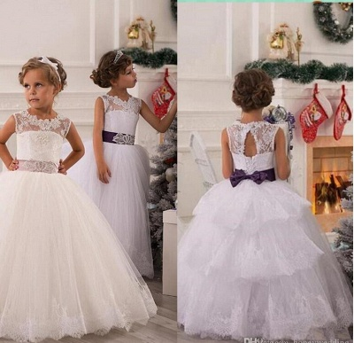 Modern Illusion Sleeveless Tulle UK Flower Girl Dress With Lace Appliques_2