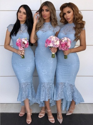 High Neck Lace Bridesmaid Dresses UK Cheap | Cap Sleeves Sexy Trumpt Maid of Honor Dresses with Fishtail_1