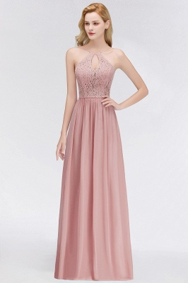 Long Lace Halter Floor-Length Bridesmaid Dresses UK | Spring Chiffon Open Back Bridesmaid Dress with Keyhole_6