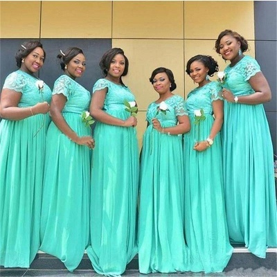 Summer Mint Green Chiffon Bridesmaid Dresses UK | Scoop With Sleeves Lace Wedding Party Dresses_3