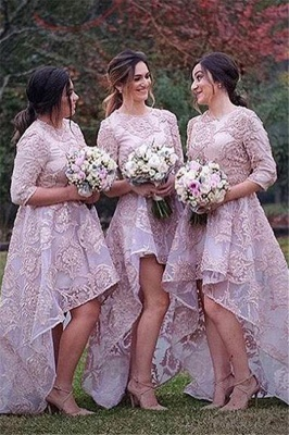Half Sleeves Lace High Front Low Back Bridesmaid Dresses UK Cheap Wedding Party Dress_1