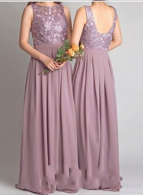 Lace Bodice Chiffon Long Bridesmaid Dresses UK | Cheap Summer Maid of Hornor Dresses Online_3