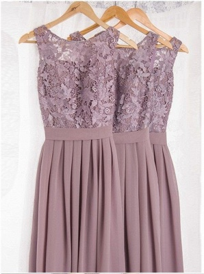 Lace Bodice Chiffon Long Bridesmaid Dresses UK | Cheap Summer Maid of Hornor Dresses Online_2