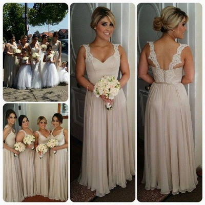 Chiffon Straps Bridesmaid Dresses UK Lace Open Back Floor Length Elegant Summer Maid of Honor Dresses_3