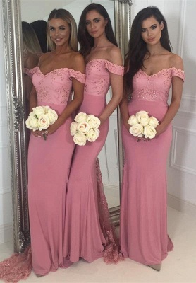 Off-the-Shoulder Pink Bridesmaid Dress | Sexy Trumpt Long Lace Bridesmaid Dresses UK_1