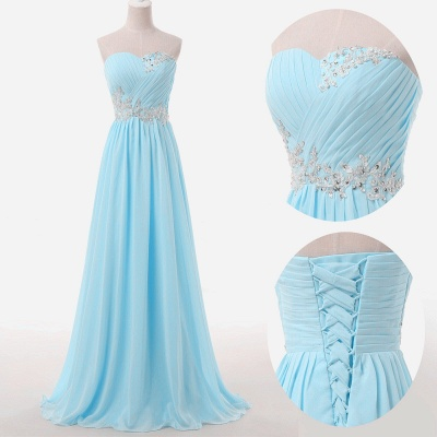 Sweetheart Sky Blue Mint Chiffon Maid of Honor Dresses Lace Beading Sweep Train Lace-up Back Bridesmaid Dresses UK_3