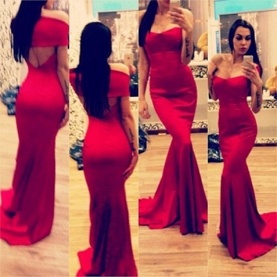 New Arrival Maid of Honor Dresses Off The Shoulder Open Back Red Sexy Trumpt Bridesmaid Dress_3