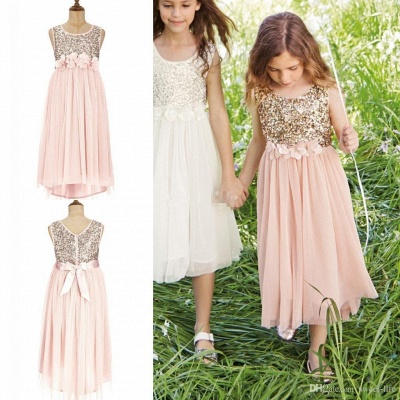 Cute Cheap Blush UK Flower Girl Dresses Sequins Bowknot Girls Pageant Dress_3
