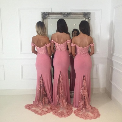 Off-the-Shoulder Pink Bridesmaid Dress | Sexy Trumpt Long Lace Bridesmaid Dresses UK_4