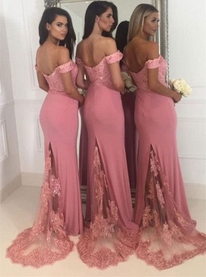 Off-the-Shoulder Pink Bridesmaid Dress | Sexy Trumpt Long Lace Bridesmaid Dresses UK_3