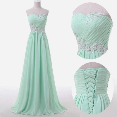 Sweetheart Sky Blue Mint Chiffon Maid of Honor Dresses Lace Beading Sweep Train Lace-up Back Bridesmaid Dresses UK_2