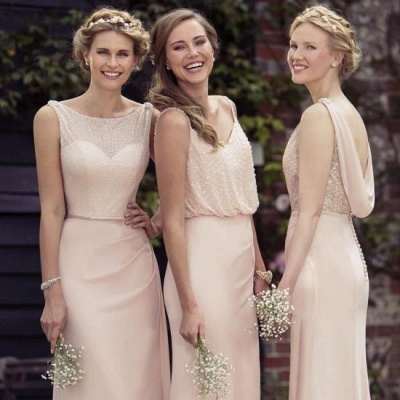 Apricot Long Chiffon Bridesmaid Dresses UK | Cheap Maid of Hornor Dresses Online_2